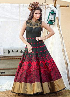 Black N Red Printed Ankle Length Anarkali Suit
