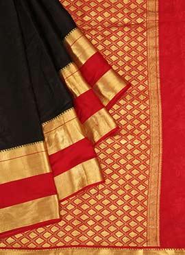 Black N Red Pure Mysore Silk Saree