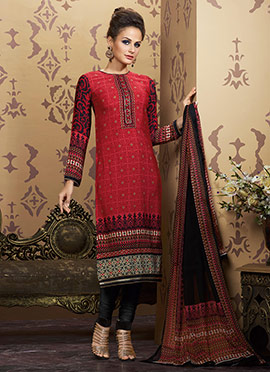 Black N Red Salwar Suit