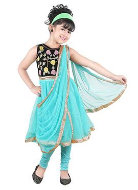 Black N Sea Blue Kids Anarkali Suit