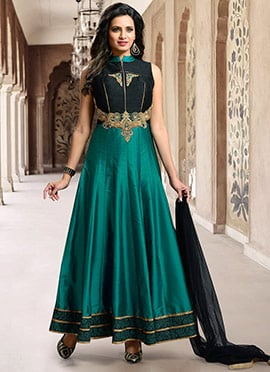 Black N Teal Green Anarkali Suit