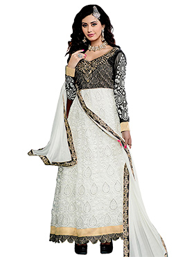 Black N White Ankle Length Anarkali Suit