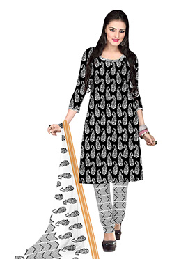 Black N White Cotton Printed Churidar Suit
