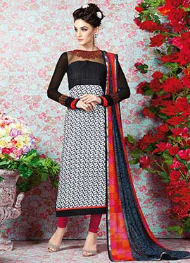 Black N White Embroidered Straight Suit
