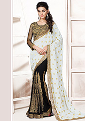 Black N White Georgette Half N Half Saree