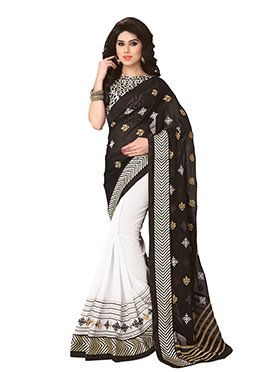 Black N White Half N Half Saree
