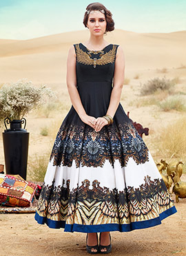 Black N White Printed Ankle Length Anarkali