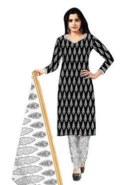 Black N White Printed Churidar Suit
