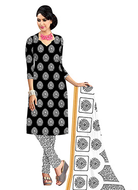 Black N White Printed Cotton Churidar Suit