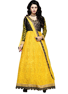 Black N Yellow Ankle Length Anarkali Suit