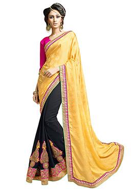 Black N Yellow Half N Half Saree