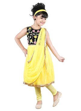 Black N Yellow Kids Anarkali Suit