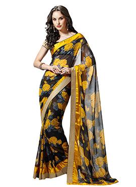 Black N Yellow Printed Saree