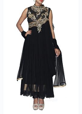Black Net Draped Ankle Length Anarkali Suit