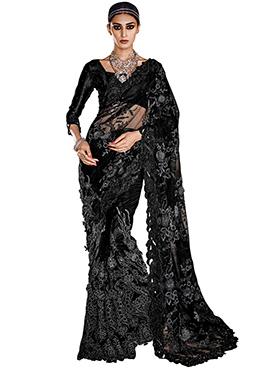 Black Net Embroidered Saree