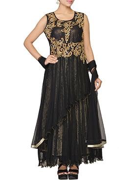 Black Net Layered Anarkali Suit