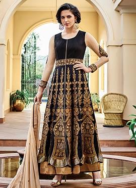 Black Raw Silk Layered Ankle Length Anarkali Suit