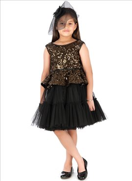 Black Sequined Kidology Indowestern Dress