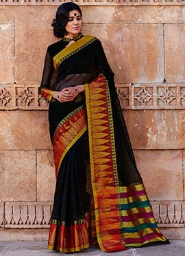 Black Silk Cotton Border Saree
