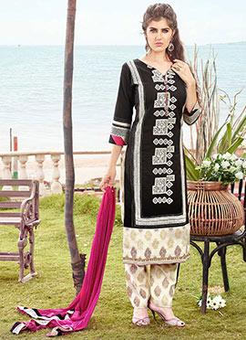 Black Silk Cotton Straight Pant Suit