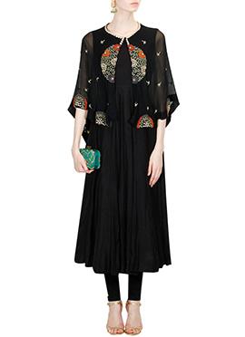 Black Silk N Net Anarkali Suit