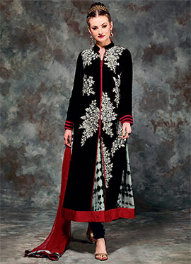 Black Viscose Anarkali Suit