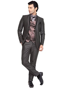 Greyish Black Viscose Lapel Style Suit