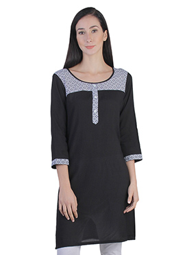 Black Viscose Short Kurti