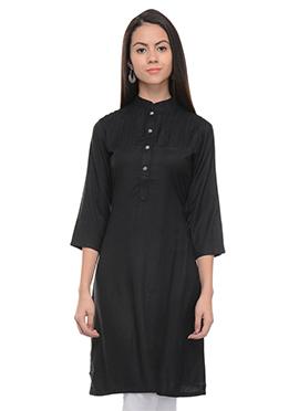 Black Viscose Solid Pattern Short Kurti