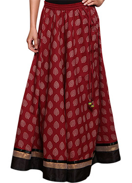 Block Printed Maroon Skirt