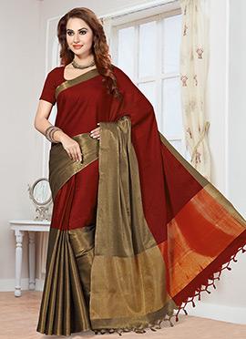 Blood Red Art Silk Saree