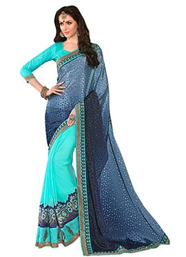 Blue  N Turquoise Embroidered Half N Half Saree