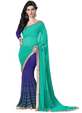 Blue And Persian Green Half N Half Saree