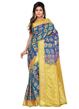 Blue Art Silk Jacquard Saree
