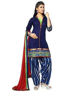 Blue Art Silk Patiala Suit