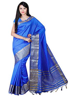 Blue Art Tussar Silk Border Saree