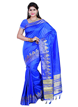 Blue Art Tussar Silk Border Saree