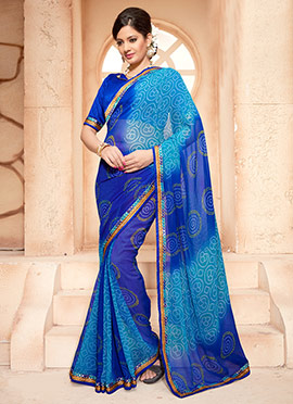 Blue Bandhini Pattern Georgette Ombre Saree