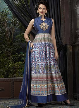 Blue Banglori Silk Printed Anarkali Suit