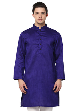 Blue Blended Cotton ethnic kurta from Home India