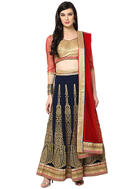Blue Blended Cotton Lehenga choli set From Home In