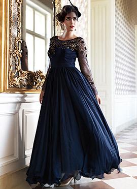Blue Chiffon Anarkali Suit