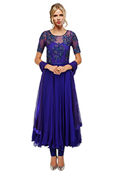 Blue Net Plus Size Anarkali Suit