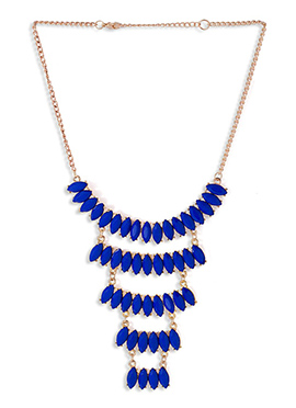 Blue Colored Crystals Studded Necklace