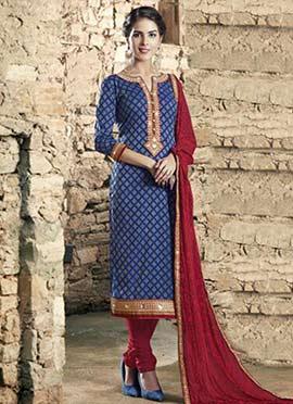 Blue Cotton Blend Churidar Suit