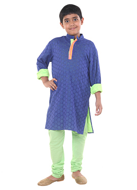 Blue Cotton Chiquitita by Payal Bahl Kids Kurta Py