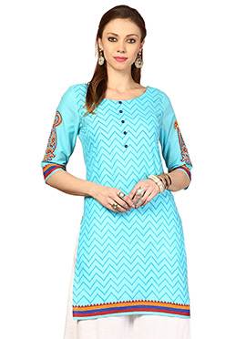 Blue Cotton Ethnic Kurti from Home India