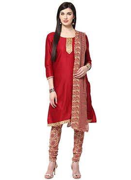 Red Cotton Home India Churidar Suit