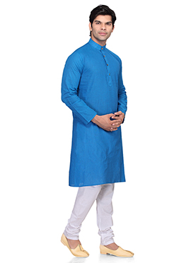 Blue Cotton Kurta Pyjama