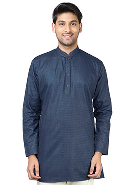 Blue Cotton Short Kurta